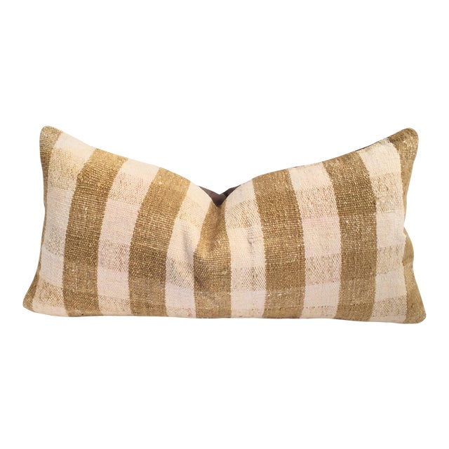 Mustard Buffalo Check Plaid Kilim Pillow Cover - Image 1 of 6