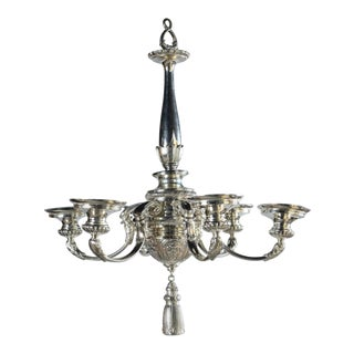 1920s Neoclassical Silver Plated Chandelier For Sale