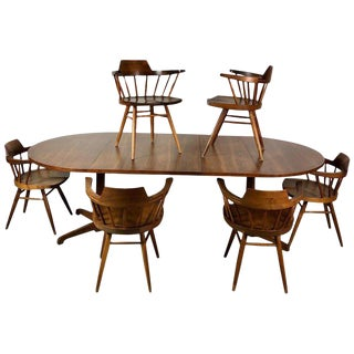Early One of a Kind George Nakashima Dining Set With Six Captain Chairs Usa 1966 For Sale