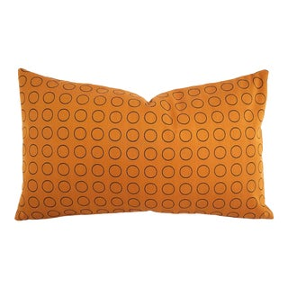 """Hella Jongerius for Maharam Repeat Dot Ring in Sienna Lumbar Pillow Cover - 12"""" X 20.5"""" Rust Circle Ring Pattern Cushion Case For Sale"""