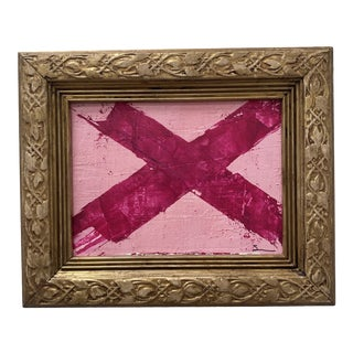 """1980s """"Pink Out Part One"""" Abstract Mixed-Media Painting, Framed For Sale"""