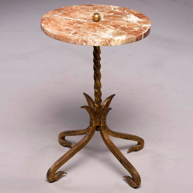Metal Spanish Gilt Iron and Marble Top Side Table For Sale - Image 7 of 9
