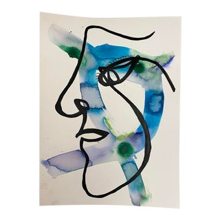 """""""Whats Her Face"""" Original Mixed Media Painting on Paper For Sale"""