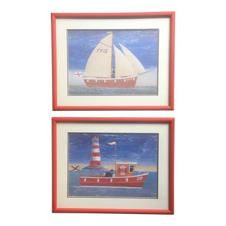 Vintage Boat and Lighthouse Framed Prints - a Pair