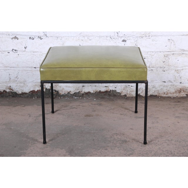 Green Paul McCobb Upholstered Iron Stools or Ottomans, Set of Three For Sale - Image 8 of 12