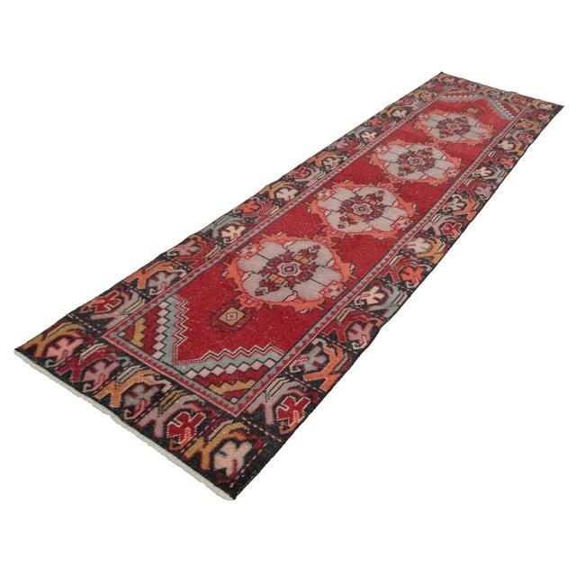 Mid-Century Modern Vintage Red Turkish Runner-2′10″ × 9′5″ For Sale - Image 3 of 7