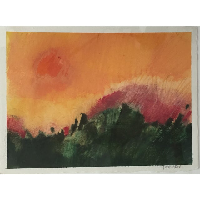 Modernist Abstract Landscape by Hamilton - Image 3 of 6