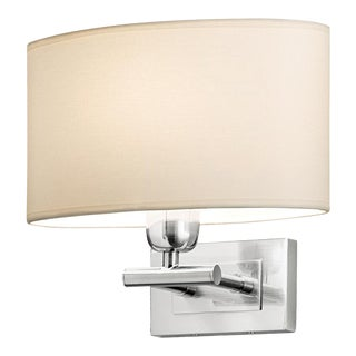 Brushed Nickel Wall Light With Oval Shade For Sale
