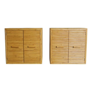 1970s Vintage Split Bamboo Cabinets- A Pair For Sale