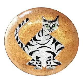1960s Annemarie Davidson Enamel on Copper Cat Plate For Sale