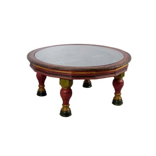 Handmade Round Riveted Iron Grill Coffee Table For Sale