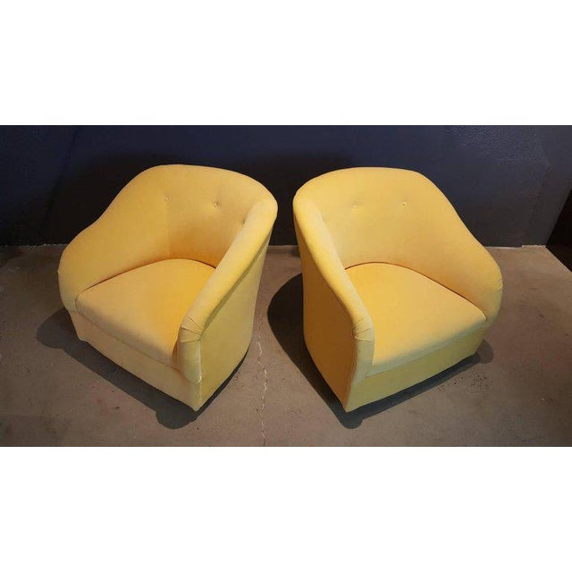 Fully Restored 1960s Vintage Ward Bennett Canary Yellow Velvet Swivel Chairs - a Pair - Image 7 of 11