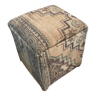 Late 20th Century Antique Kilim Covered Ottoman For Sale