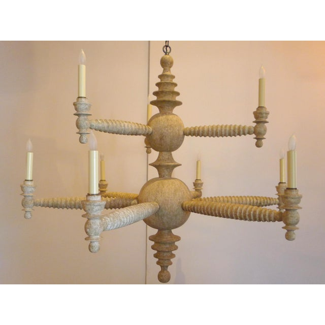 Paul Marra Spool Chandelier Two Tier in Driftwood - Image 2 of 5