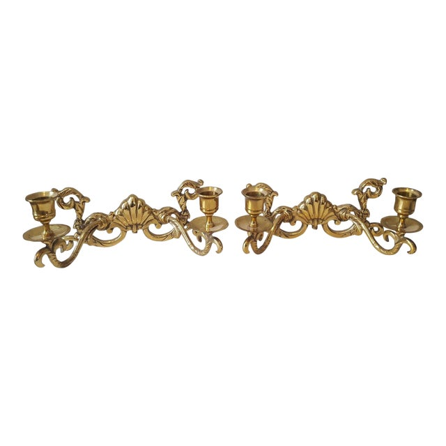 Hollywood Regency Brass Shell Two-Arm Candle Sconces - A Pair - Image 1 of 5