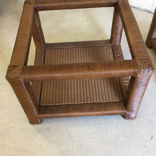 Janus Et Cie Wicker & Glass Top End Tables For Sale - Image 10 of 11