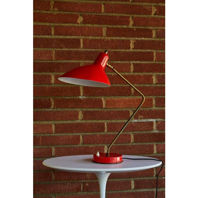 1950s 1950s Mid-Century Modern Boris Lacroix Red Table Lamp For Sale - Image 5 of 12