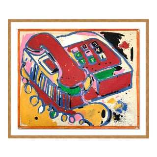 Telephone by Jelly Chen in Gold Framed Paper, Medium Art Print For Sale