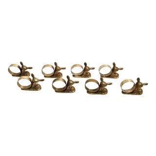 Vintage Brass Deer Figural Napkin Rings - Set of 8 For Sale