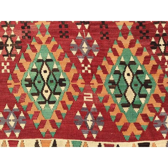 Textile Vintage Turkish Kilim Rug For Sale - Image 7 of 12