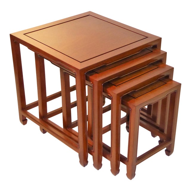 1970s Vintage Baker Far East Collection Style Teak Nesting Tables - Set of 4 For Sale