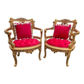 French Louis XVI Handcrafted Chair With Red Tufted Velvet and Gold Frame - a Pair For Sale