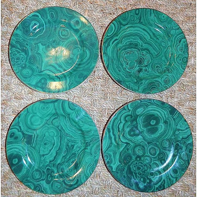 Traditional Malachite Plates - Set of 4 (Neiman Marcus) - Image 5 of 7