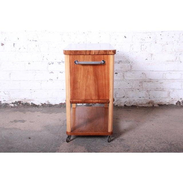 1930s Art Deco Burl Wood Rolling Bar Cart For Sale - Image 9 of 13