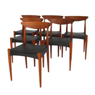 1960's Danish Mid-Century Modern Arne Hovmand-Olsen Model Mk 310 Teak Dining Chairs - Set of 6 For Sale