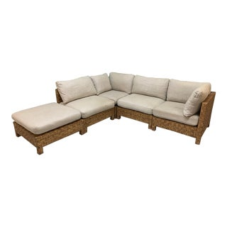 Block Wicker Woven Sectional Sofa For Sale