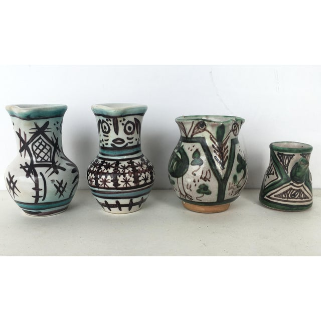 Rustic 19th Set of Four Glazed Terrracota Vases , Urns, Pitchers in Green & White For Sale - Image 3 of 12