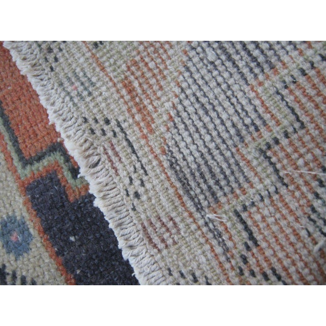 "Vintage Small Turkish Beige Wool Pile Hand Knotted Area Rug - 1'7"" x 2'11"" - Image 4 of 6"