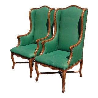 Pair of French Provincial Green Tallback Accent Chairs For Sale