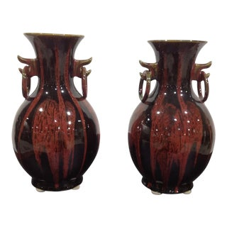 Vintage Decorative Hilda Flack Designed Boho Drip Glazed Vase Pair For Sale