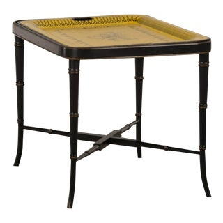 French Painted Tôle Tray, Creil Pattern on a Faux Bamboo Custom Stand circa 1880 For Sale