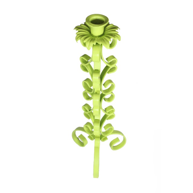 Mid-Century Modern 1970s Chartreuse Wrought Iron Taper Candlestick Holder - a Pair For Sale - Image 3 of 5