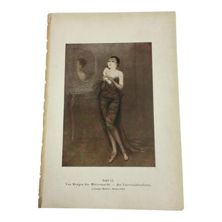 1920s Woman in Sheer Dress Fashion Illustration For Sale