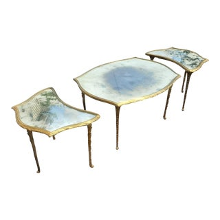 French Mid-Century Bronze Louis XV 3 Parts Coffee Table by Maison Baguès For Sale