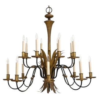 Black and Gilt Metal Chandelier For Sale