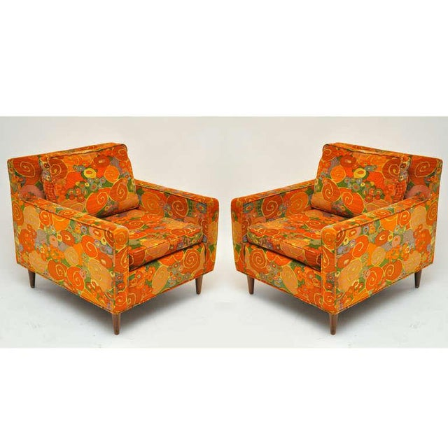 A pair of club chairs by Harvey Probber. Chairs are upholstered in fabulous vintage velvet fabric.
