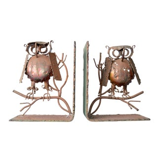 Curtis Jere Copper Owl Bookends - a Pair For Sale