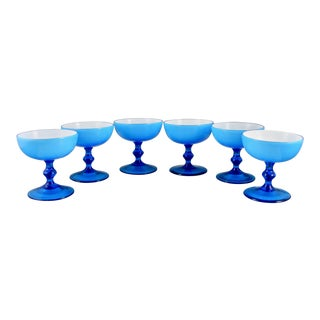 1970s Mid Century Modern Carlo Moretti Turquoise Blue Sherbert Champagne Glasses - Set of 6 For Sale