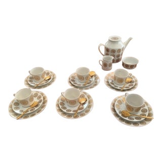 Vintage Danish Mid-Century Porsgrund Tea Set - 27 Piece For Sale
