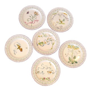 Art Nouveau French Faience Enamel Decorated Emile Galle Nancy Plates, Signed - Set of 6 For Sale