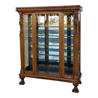 French Country r.j. Horner Bros. Style Oak Carved Curio Display Cabinet W Claw Feet For Sale