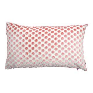 FirmaMenta Italian Light Pink Velvet Polka Dot Lumbar Pillow