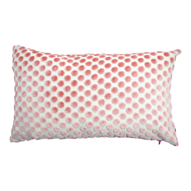 FirmaMenta Italian Light Pink Velvet Polka Dot Lumbar Pillow For Sale