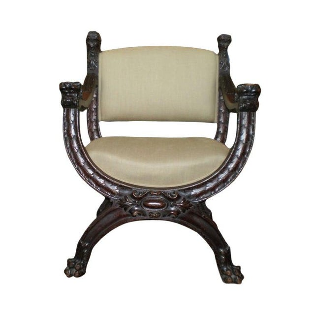 19th Century Antique Italian Carved Walnut Renaissance Style Chair For Sale - Image 9 of 10