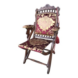 Antique Victorian Style Folding Chair Newly Upholstered For Sale