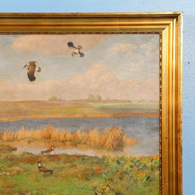 "Impressionist Original Antique ""Shore Birds in a Marsh"" Landscape Painting Signed C. Hoyrup For Sale - Image 3 of 10"
